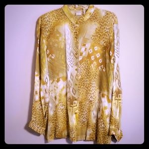 Silk sheer african print blouse yellow gold NWT